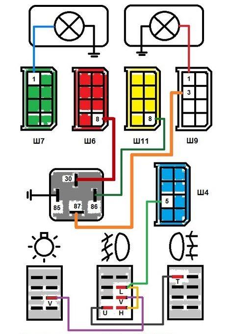 Схема подключения туманок через блок предохранителей