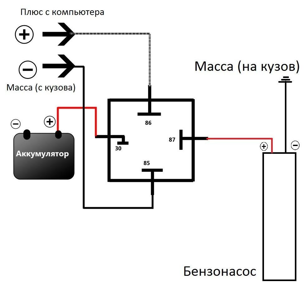 Схематичное подключение насоса