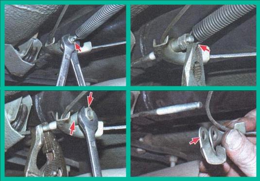 Разъединяем передний и задний тросики