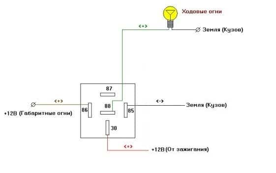 Схема подключения ходовых огней ВАЗ